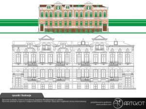rysunek elewacji budynku UZZM