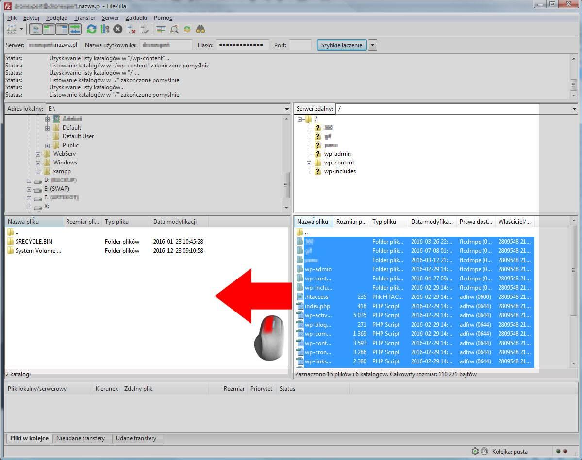 Transferowanie plików w programie FileZilla